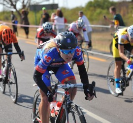 Charlene du Preez (left) of Team Clover Prestigio powers her way to first place in the 103km Bestmed Cycle4Cansa Road Classic at Sun City on Sunday. Photo: The Citizen