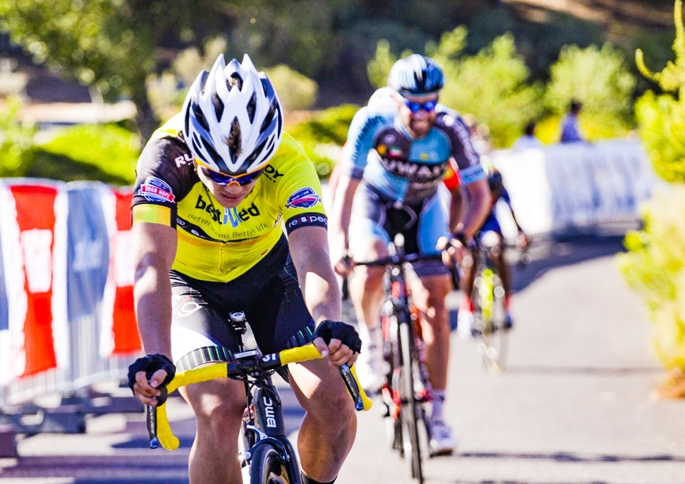 Pro Touch's Myles van Musschenbroek crosses the finish line on the final day of the Bestmed Tour of Good Hope at the Taal Monument near Paarl today. Photo: Robert Ward