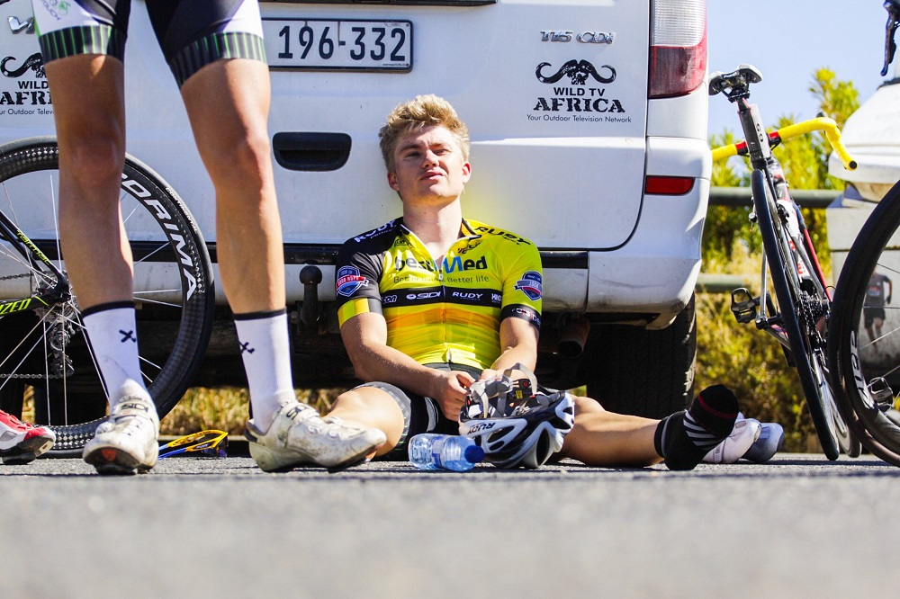 Pro Touch's Myles van Musschenbroek recovers after a desperate, but ultimately unsuccessful bid, to retain the yellow jersey on the final day of the Bestmed Tour of Good Hope at the Taal Monument near Paarl today. Photo:  Robert Ward